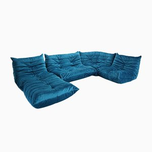 Blue Velvet Togo Sofa Set by Michel Ducaroy for Ligne Roset, 1970s