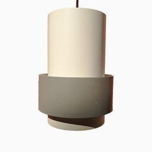 Lampada da soffitto in metallo bianco e grigio di Jo Hammerborg per Fog & Mørup, Danimarca, anni '60