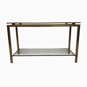 Vintage French Glass Two-Tier Console Table, 1970s