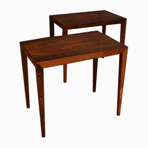 Tables d'Appoint en Palissandre par Severin Hansen pour Haslev Møbelsnedkeri, 1960s, Set de 2