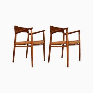 Modell 56 Esszimmerstühle mit Gestell aus Teak & Sitz aus Papierkordelgeflecht von Niels Otto Møller für J.L. Møllers, 1960er, 2er Set