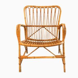 Danish Rattan Lounge Chair, 1950s