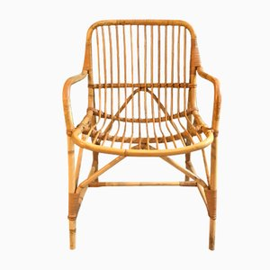 Danish Rattan Lounge Chair, 1950s