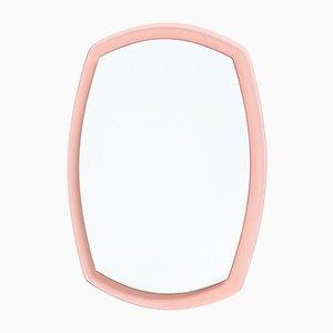 Espejo italiano moderno rosa de cristal biselado, años 60, años 60