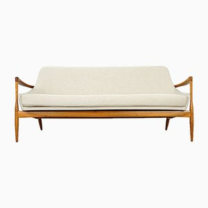 Model D 200 S Cream Walnut Wood Sofa by Ib Kofod Larsen for Laauser, 1950s