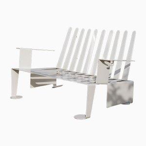 Moderne weiße Gartenbank aus Metall, 1980er