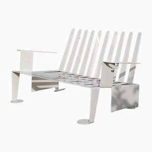 Modernist White Metal Garden Bench, 1980s
