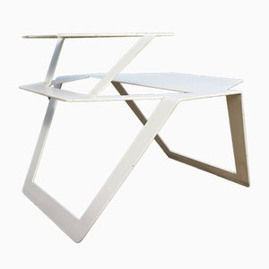 Industrieller Tisch aus weißem Metall, 1980er