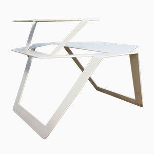 Tavolo industriale in metallo bianco, anni '80