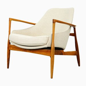 Model D 200 Cream Walnut Wood Armchair by Ib Kofod Larsen for Laauser, 1950s