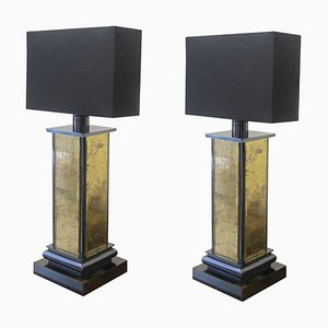 Gold Mirrored Table Lamps, 1970s, Set of 2