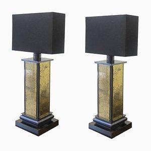 Lampade da tavolo specchiate color oro, anni '70, set di 2