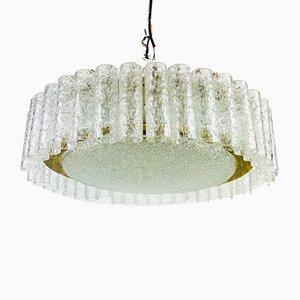 Lámpara de techo alemana Mid-Century de latón y cristal de Doria Leuchten, años 60