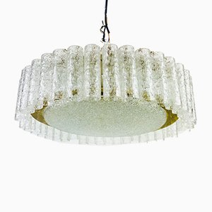 Mid-Century German Brass & Crystal Ceiling Lamp from Doria Leuchten, 1960s