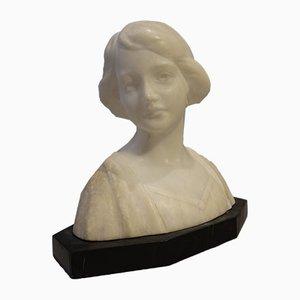 Buste de Femme en Marbre Noir et Blanc, 1920s