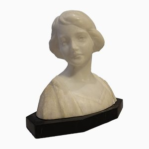 Damenbüste aus schwarzem & weißem Marmor, 1920er