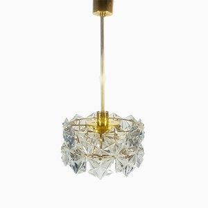 Vergoldete deutsche Deckenlampe aus Kristallglas von Kinkeldey, 1960er