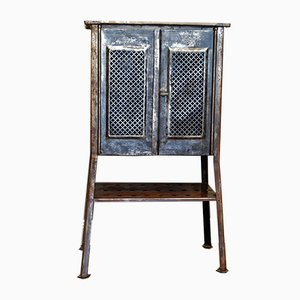 Antique Cross Perforated Metal Cabinet, 1930s