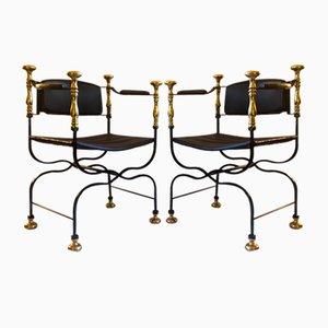 Italian Savonarola Curule Wrought Iron & Brass chairs, 1970s, Set of 2