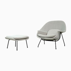 Modell Womb Sessel & Fußhocker Set von Eero Saarinen für Knoll International, 1960er