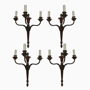 Vintage Wandleuchten aus Bronze im neoklassizistischen Stil, 1920er, 4er Set