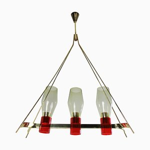 Italienische Mid-Century Deckenlampe aus Messing & Glas, 1950er