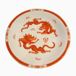 Decorative Plate with Red Chinese Dragon Motif from Meissen, 1960s