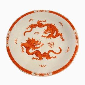 Plato decorativo chino con dragones rojos de Meissen, años 60