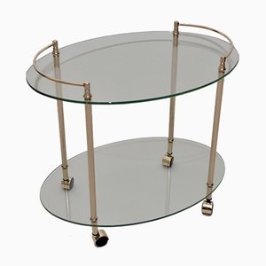 Vintage French Brass and Glass Drinks Trolley, 1980s