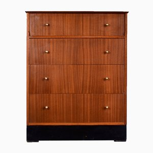 Vintage Mid-Century Teak and Brass Chest of Drawers from Lebus, 1960s