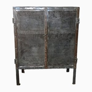 Antique Metal Cabinet with Two Doors and Perforated Sheet, 1920s