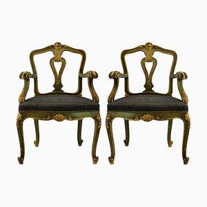 Antike venezianische Sessel, 2er Set