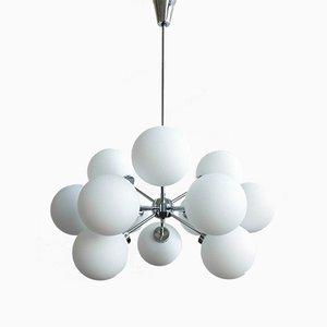 Lámpara de araña Sputnik alemana Mid-Century de plata, años 60