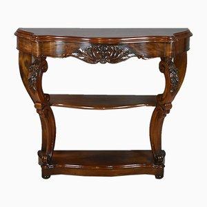 Mesa consola francesa estilo Luis XV antigua de caoba