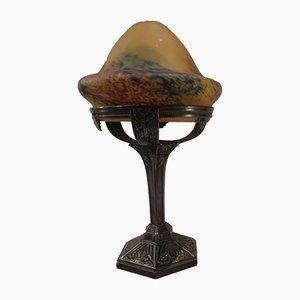 Lampe de Bureau Art Nouveau en Verre Teinté et Bronze par Le Verre Francois, France, 1920s