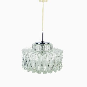 German Textured Crystal Ceiling Lamp from Limburg, 1960s