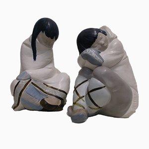 Figurines in Optik schlafender Eskimo Jungen & Mädchen aus Porzellan von Juan Huerta für Lladro, 1980er, 2er Set