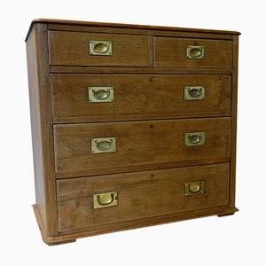 Victorian Solid Oak Campaign Chest of Drawers