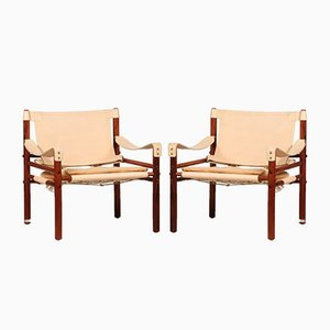 Vintage Rosewood & Cognac Leather Scirocco Safari Chairs by Arne Norell for Arne Norell AB, 1990s, Set of 2