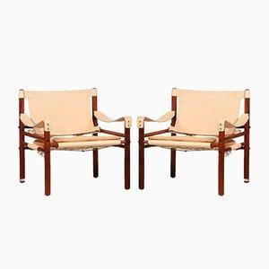 Vintage Scirocco Safari Stühle aus Palisander & cognacfarbenem Leder von Arne Norell für Arne Norell AB, 1990er, 2er Set