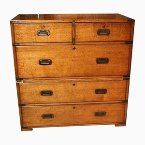 Antique Oak Campaign Chest of Drawers
