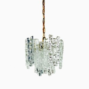Lámpara de araña vintage de cristal de hielo de J. T. Kalmar para Kalmar, años 60