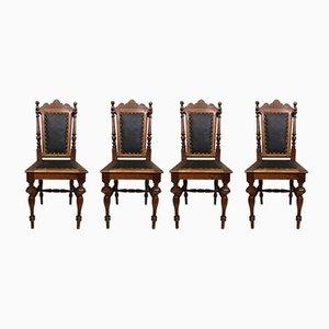 Antike Hunting Esszimmerstühle, 4er Set
