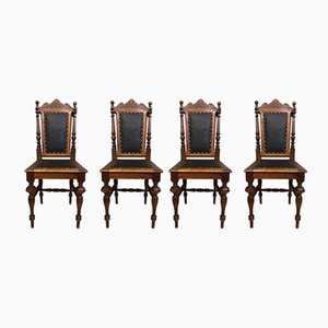 Antique Hunting Dining Chairs, Set of 4