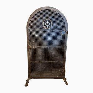 Metallschrank mit Lochblech Platte und Ornamentik, 1920er