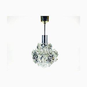 Deckenlampe aus Kristallglas & verchromtem Metall von Kinkeldey, 1960er