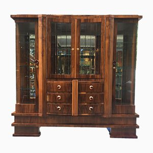 Large Art Deco Walnut Showcase, 1920s