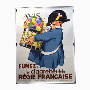 Vintage French Tobacco Poster by Rene Vincent, 1930s