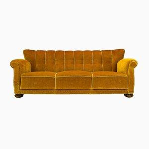 Sofá de tres plazas danés Art Déco vintage de terciopelo amarillo de Danish Art Déco Design, años 40