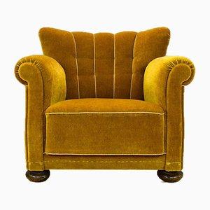 Sillón Club danés Art Déco vintage de terciopelo amarillo de Danish Art Déco Design, años 40